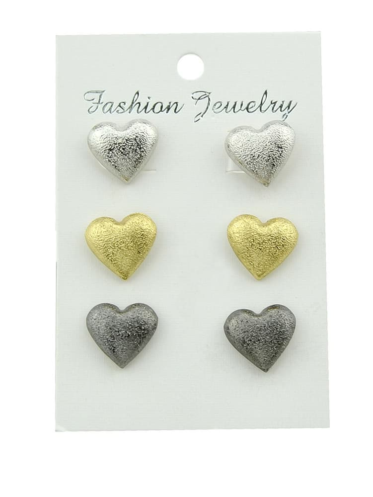 3Pcs/Set Gold And Silver Black Love Female Earrings