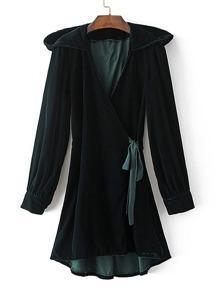 Self Tie Hooded Surplice Velvet Kimono
