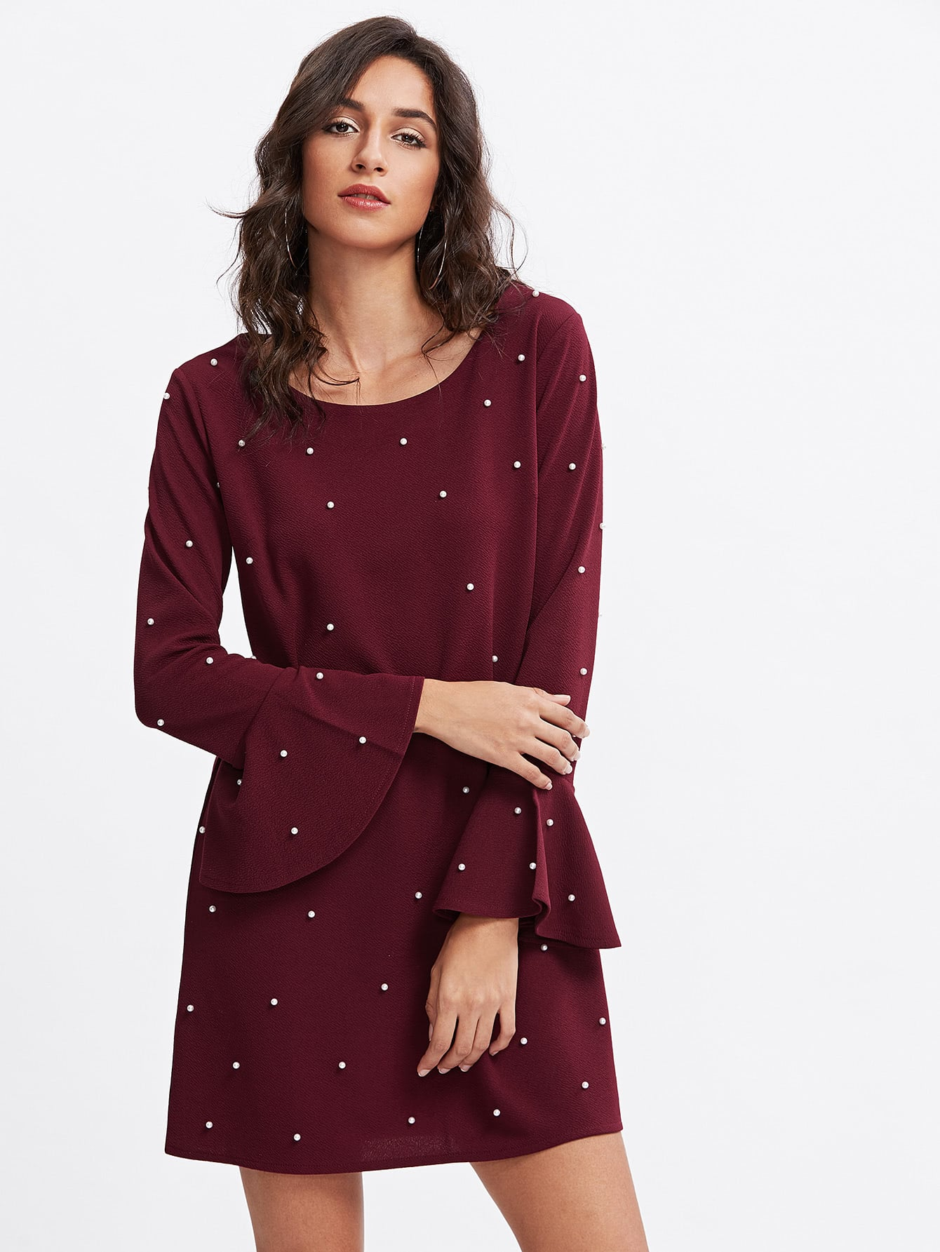 Fluted Sleeve Pearl Beaded Dress v notch pearl leaf chain detail fluted sleeve dress