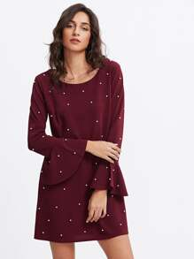 Fluted Sleeve Pearl Beaded Dress
