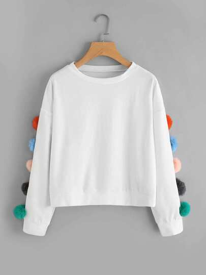 Pom Pom Detail Drop Shoulder Pullover