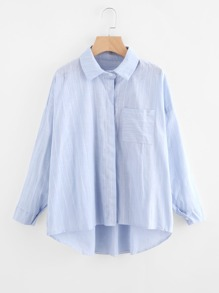 Pinstriped Drop Shoulder Dip Hem Shirt