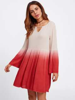 Keyhole Neck Bell Sleeve Crinkle Ombre Dress