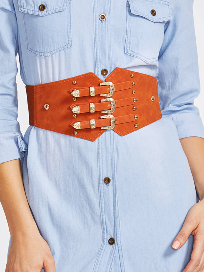 Triple Buckle Rivet Detail Elastic Belt