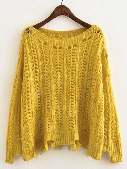 Hollow Out Raw Hem Knit Sweater