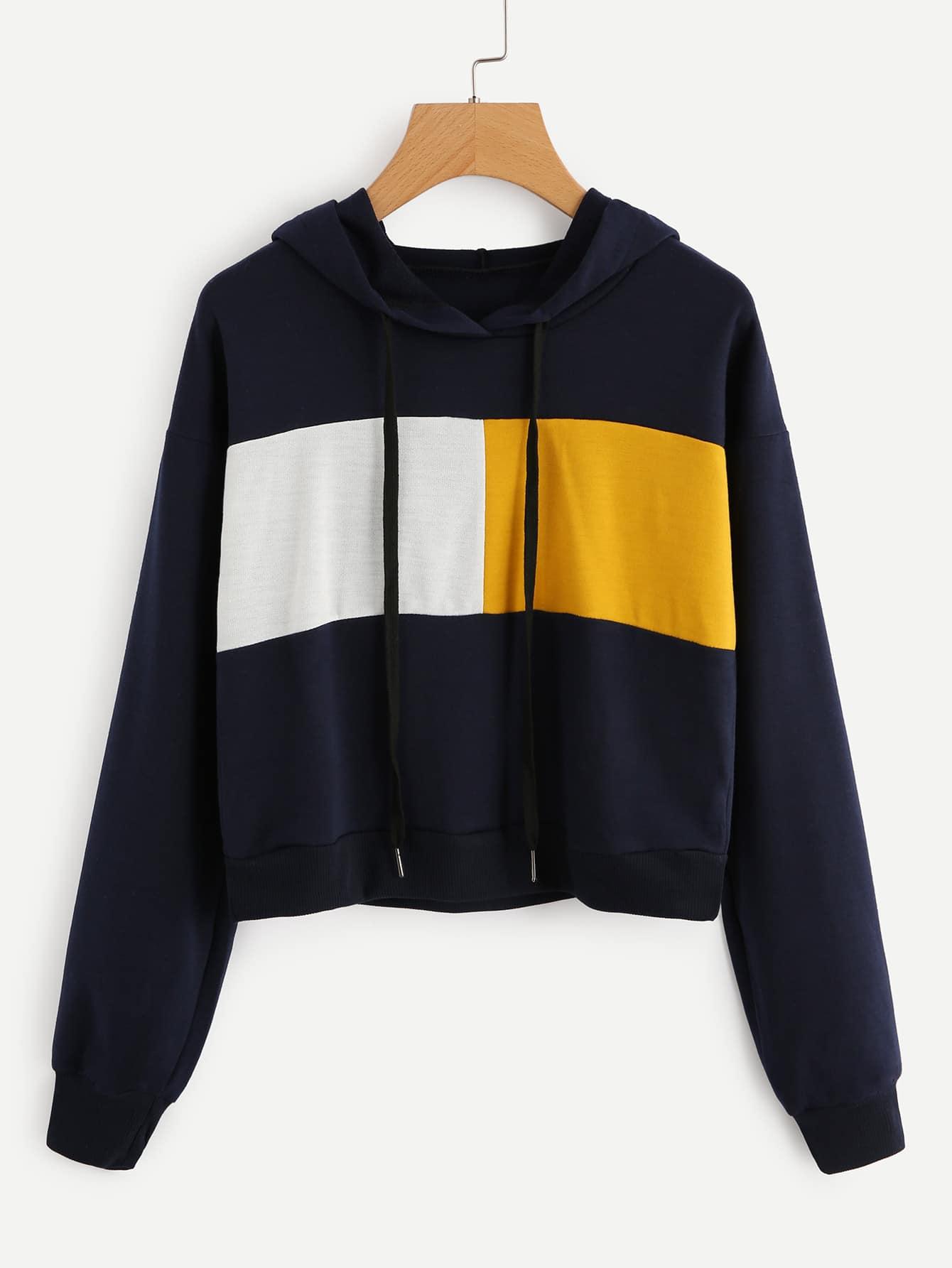 Contrast Panel Crop Hoodie contrast panel sleeve lace up hoodie