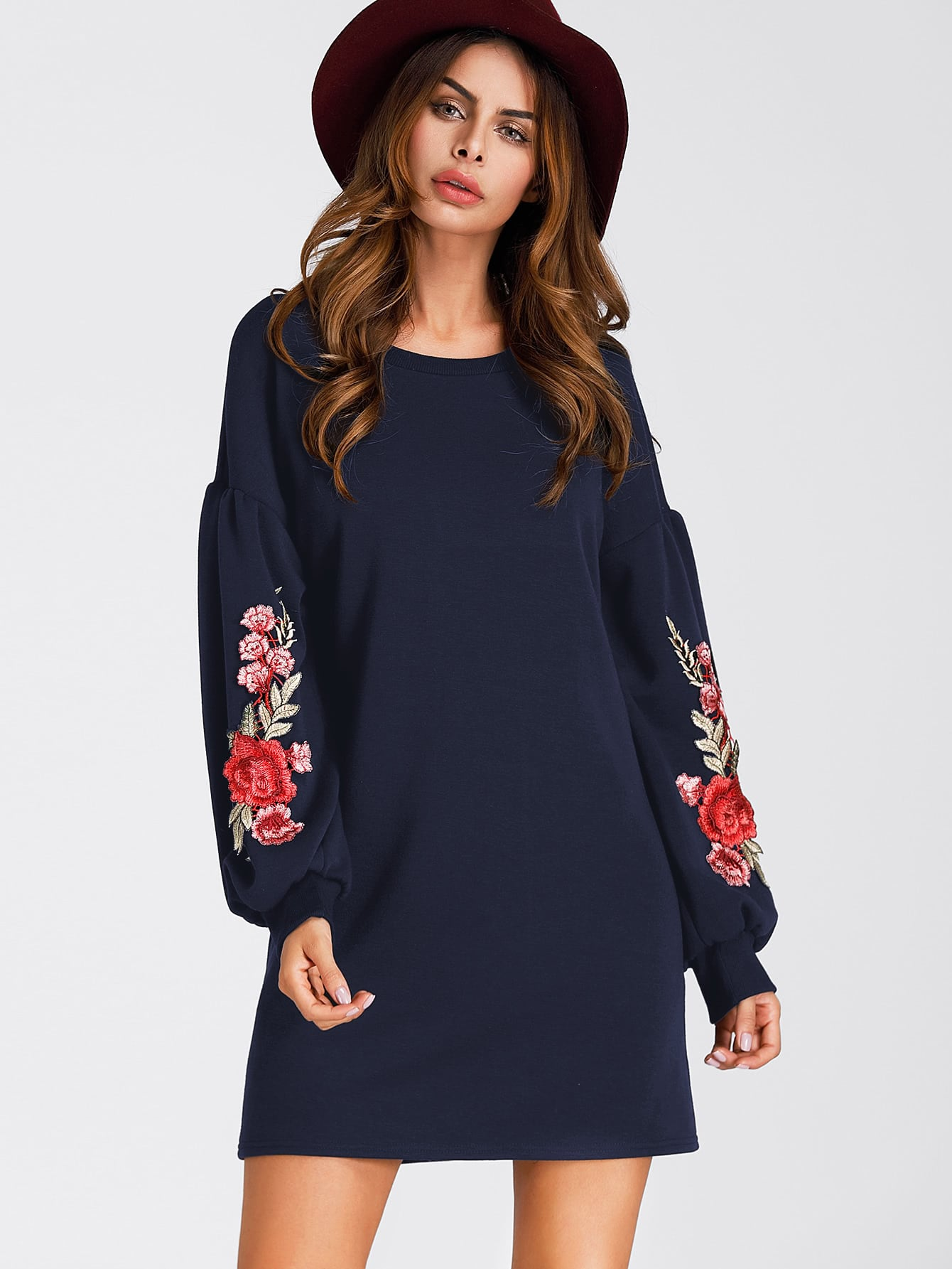 Embroidered Appliques Balloon Sleeve Dress foldover neckline embroidered appliques sweatshirt dress