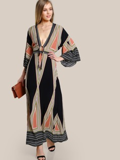Cut Out Back Plunging Kimono Dress