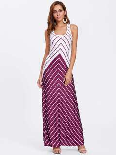 Crisscross Back Two Tone Chevron Stripe Dress