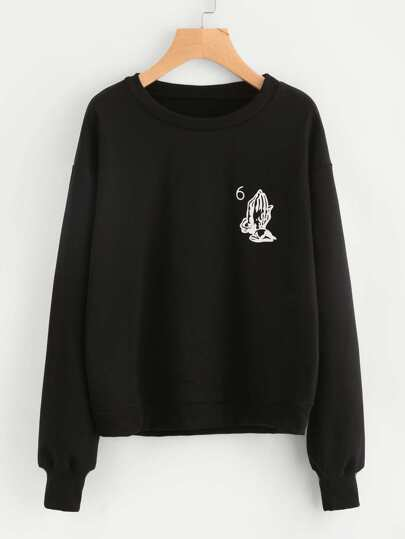 Praying Hands Print Ribbed Trim Sweatshirt
