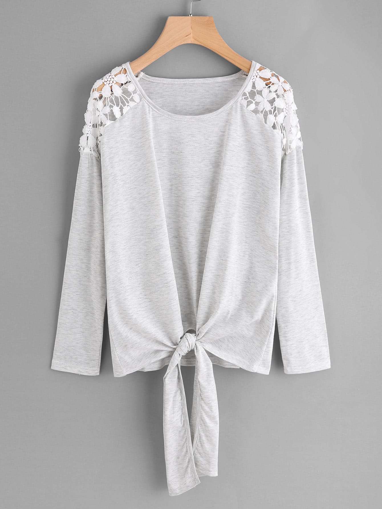 Hollow Lace Shoulder Knot Front Tee hollow lace shoulder knot front tee