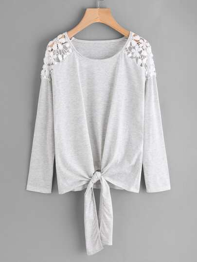 Hollow Lace Shoulder Knot Front Tee