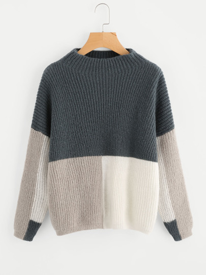 Color Block Funnel Neck Jumper