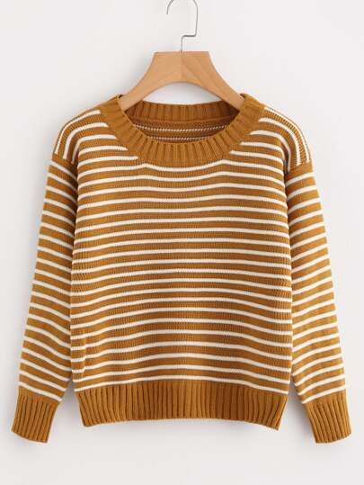 Contrast Striped Knit Sweater