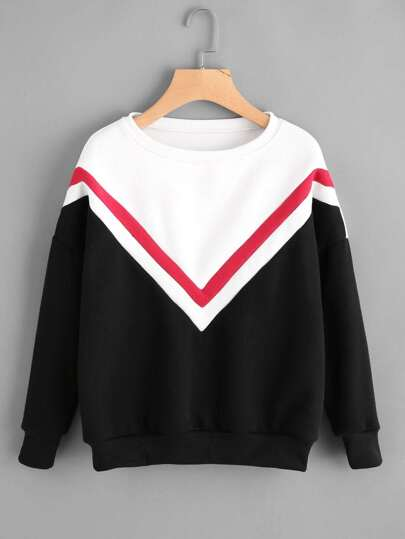 Drop Shoulder Striped Trim Color Block Sweatshirt