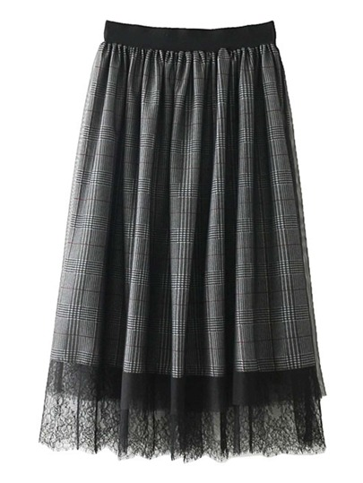 Lace Hem Plaid Skirt