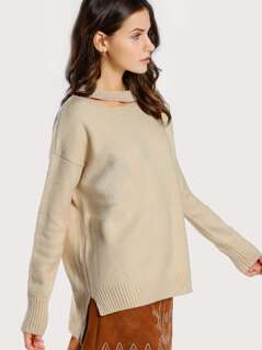 Choker Ribbed Sweater CREAM