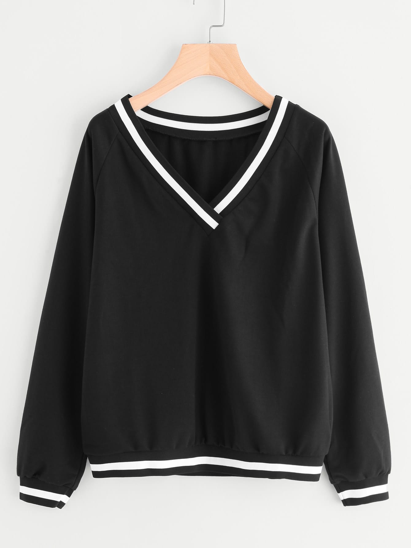 Striped Ribbed Trim Sweatshirt sweatshirt170925450