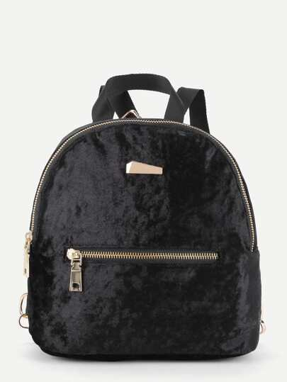 Metal Detail Zipper Front Velvet Backpack