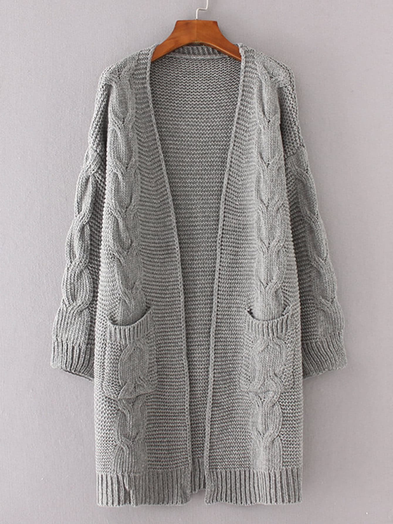 Cable Knit Longline Chunky Cardigan -SheIn(Sheinside)