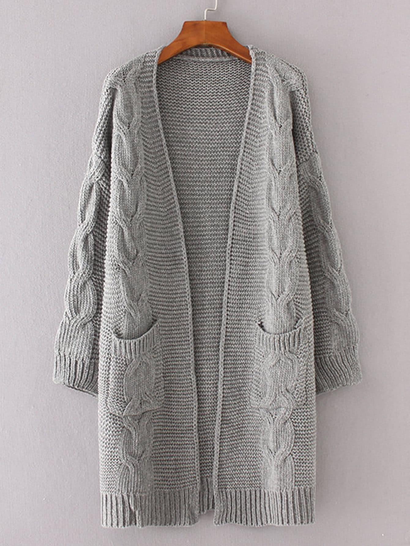 Cable Knit Longline Chunky Cardigan -SheIn(Sheinside)