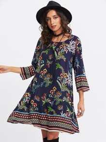 Botanical Print Swing Dress