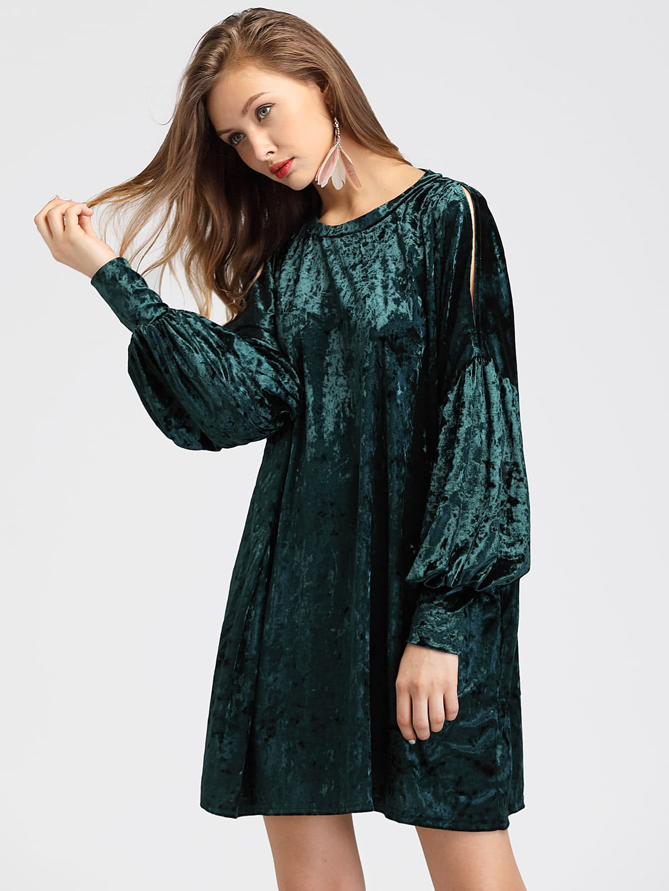 Crushed Velvet Split Shoulder Lantern Sleeve Dress