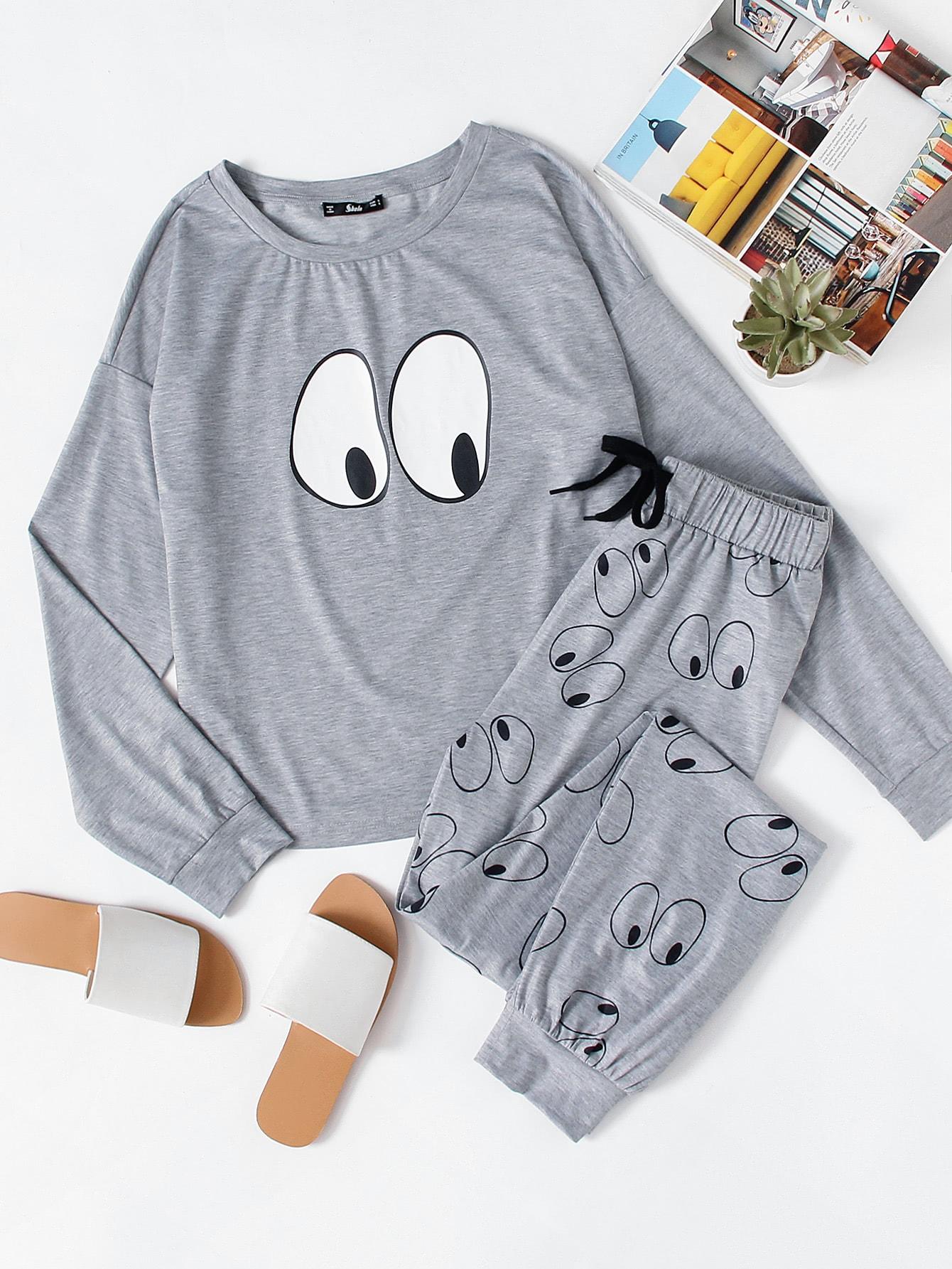 купить Cartoon Eye Print Top & Sweatpants Pajama Set недорого