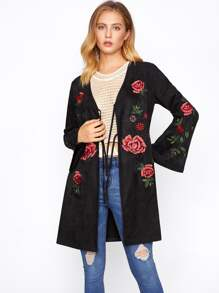 Tied Front Embroidery Suede Coat