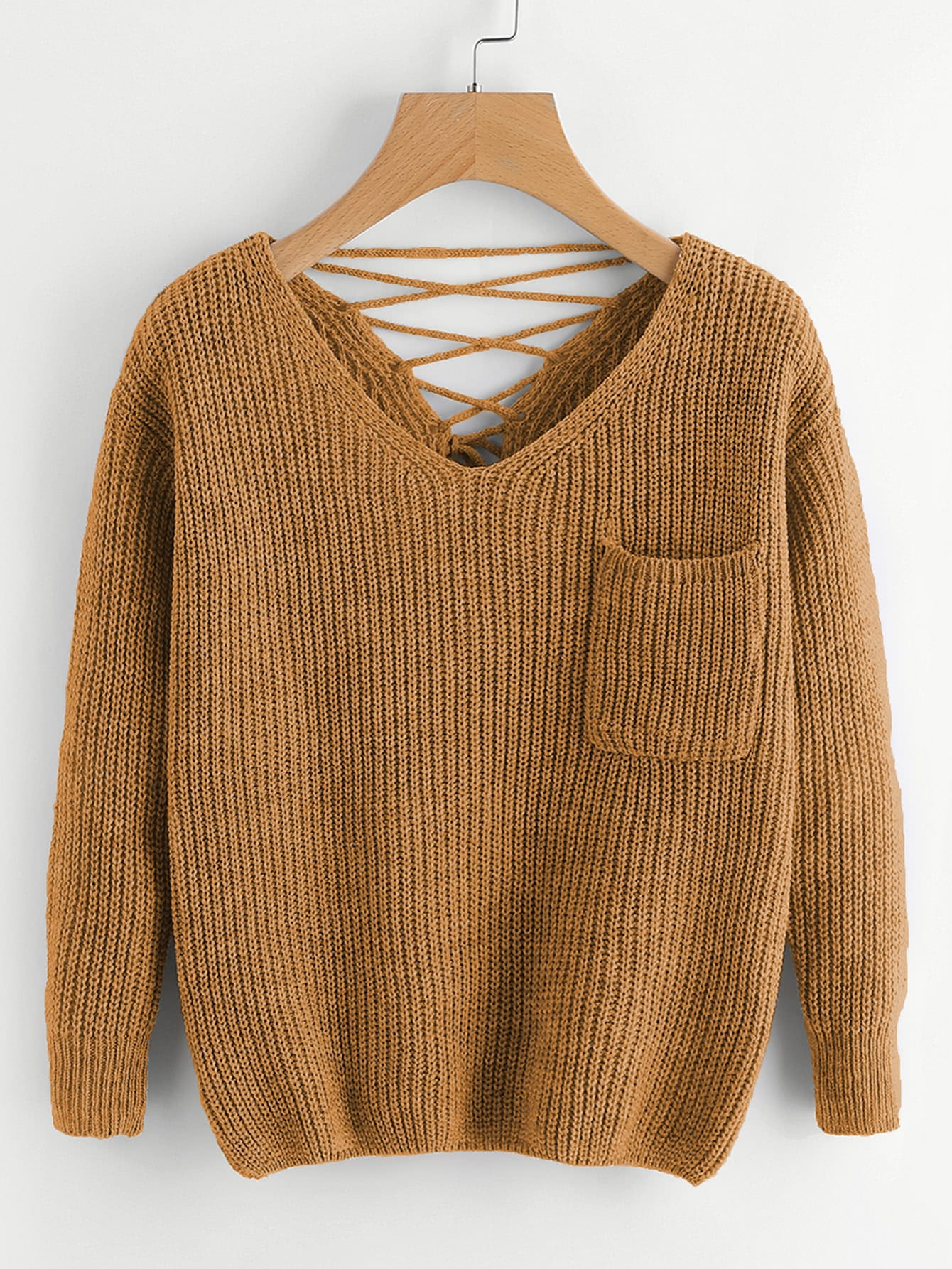 Double V Lace Up Back Chunky Knit Jumper sweater170914003