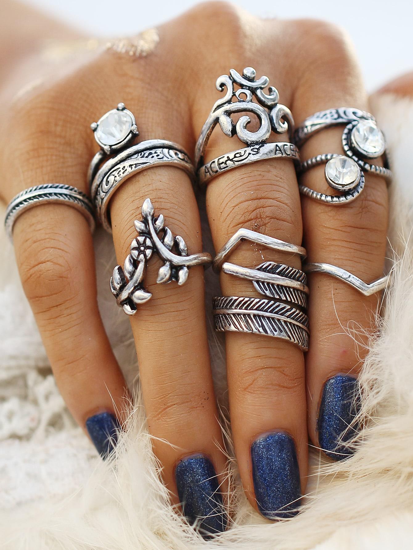 Heart & Leaf Design Ring Set 8pcs open heart design ring