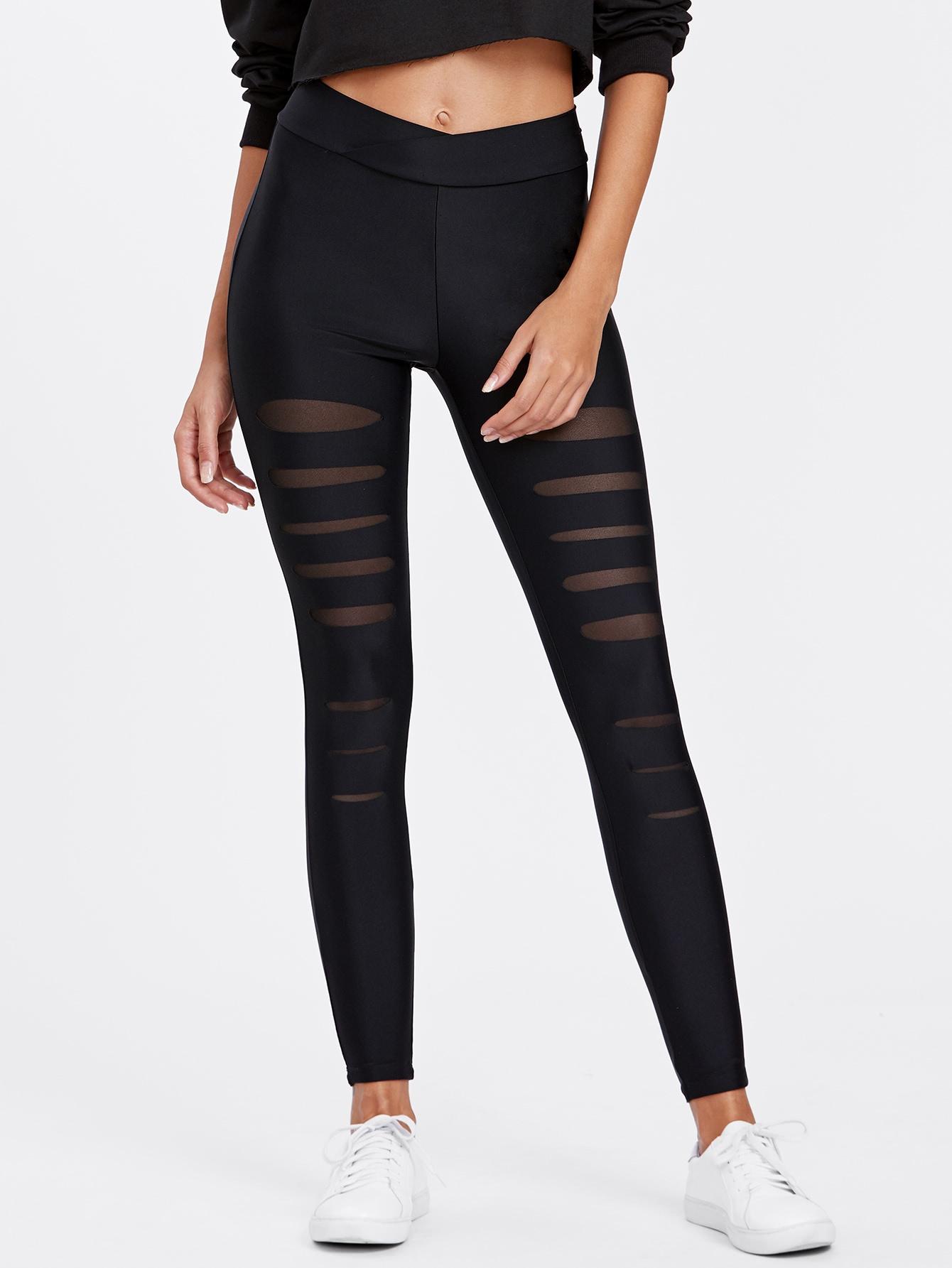 Mesh Insert Ripped Leggings black slim ripped leggings