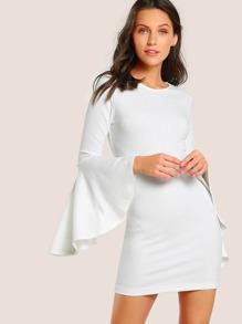 Ruffle Hem Ribbed Bodycon Dress WHITE