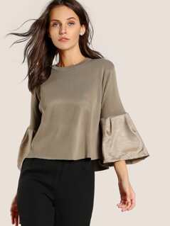 Satin Quarter Sleeve Sweatshirt KHAKI