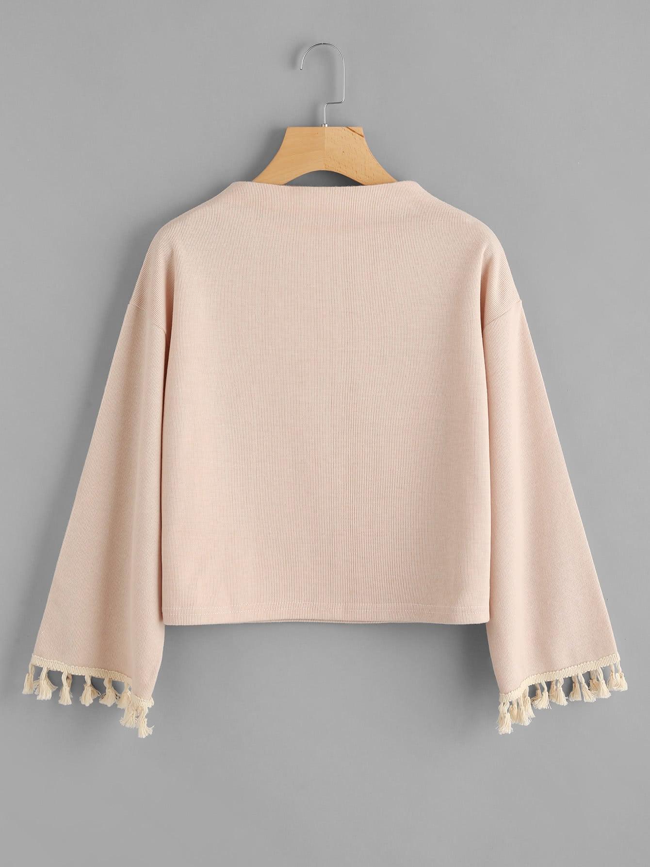 Sweatshirt mit sehr tief angesetzter Schulterpartie und Franse