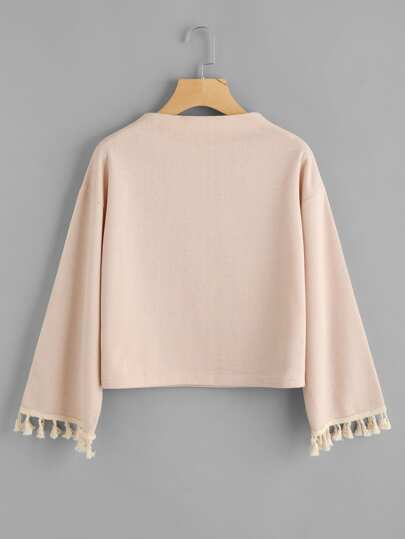 Drop Shoulder Fringe Trim Sweatshirt