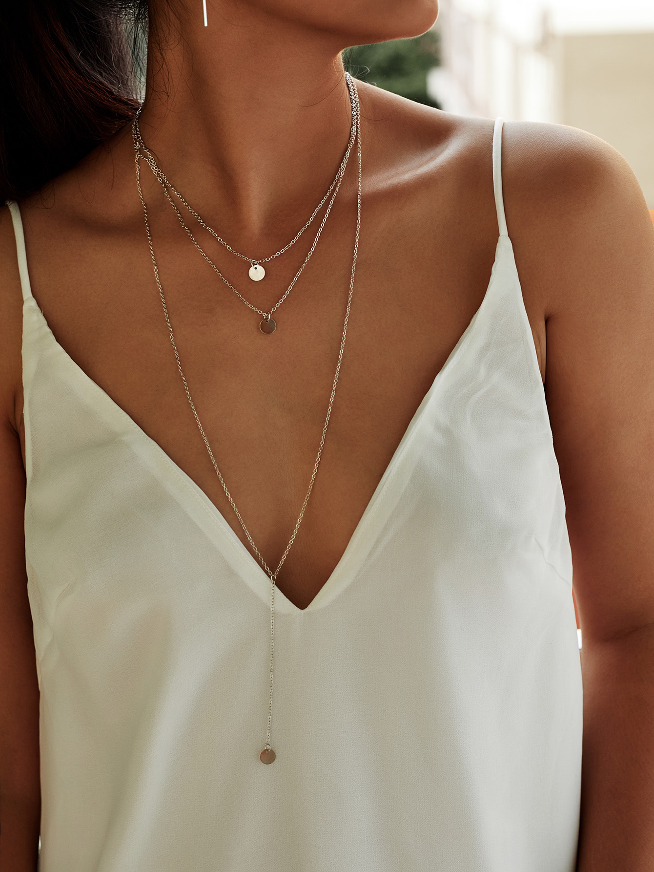 Sequin Pendant Design Chain Necklace Set sequin overlay triangle design necklace