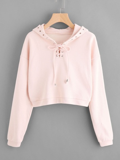 Grommet Lace Up Drop Shoulder Crop Hoodie