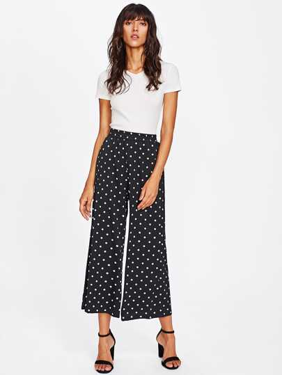 Romwe / Polka Dot Wide Leg Pants