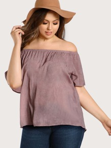 Off Shoulder High Low Top MAUVE