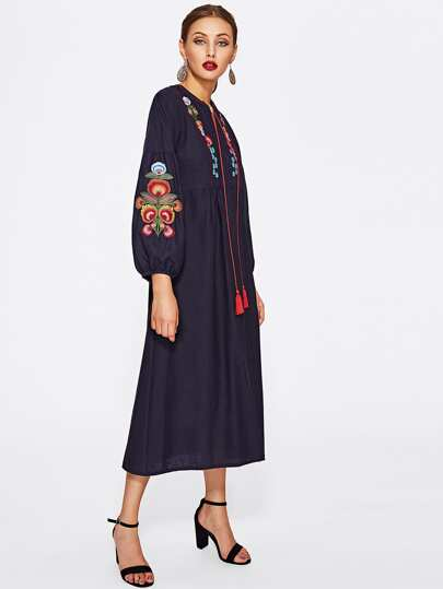 Flower Embroidered Lantern Sleeve Dress