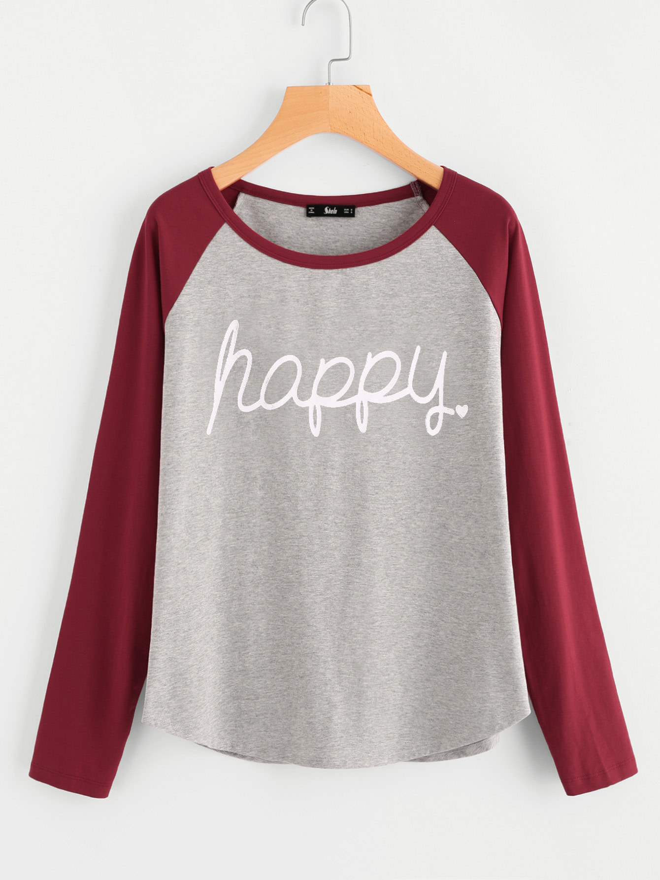 Contrast Raglan Sleeve Heather Knit Tee contrast ruffle trim heather knit sweatshirt