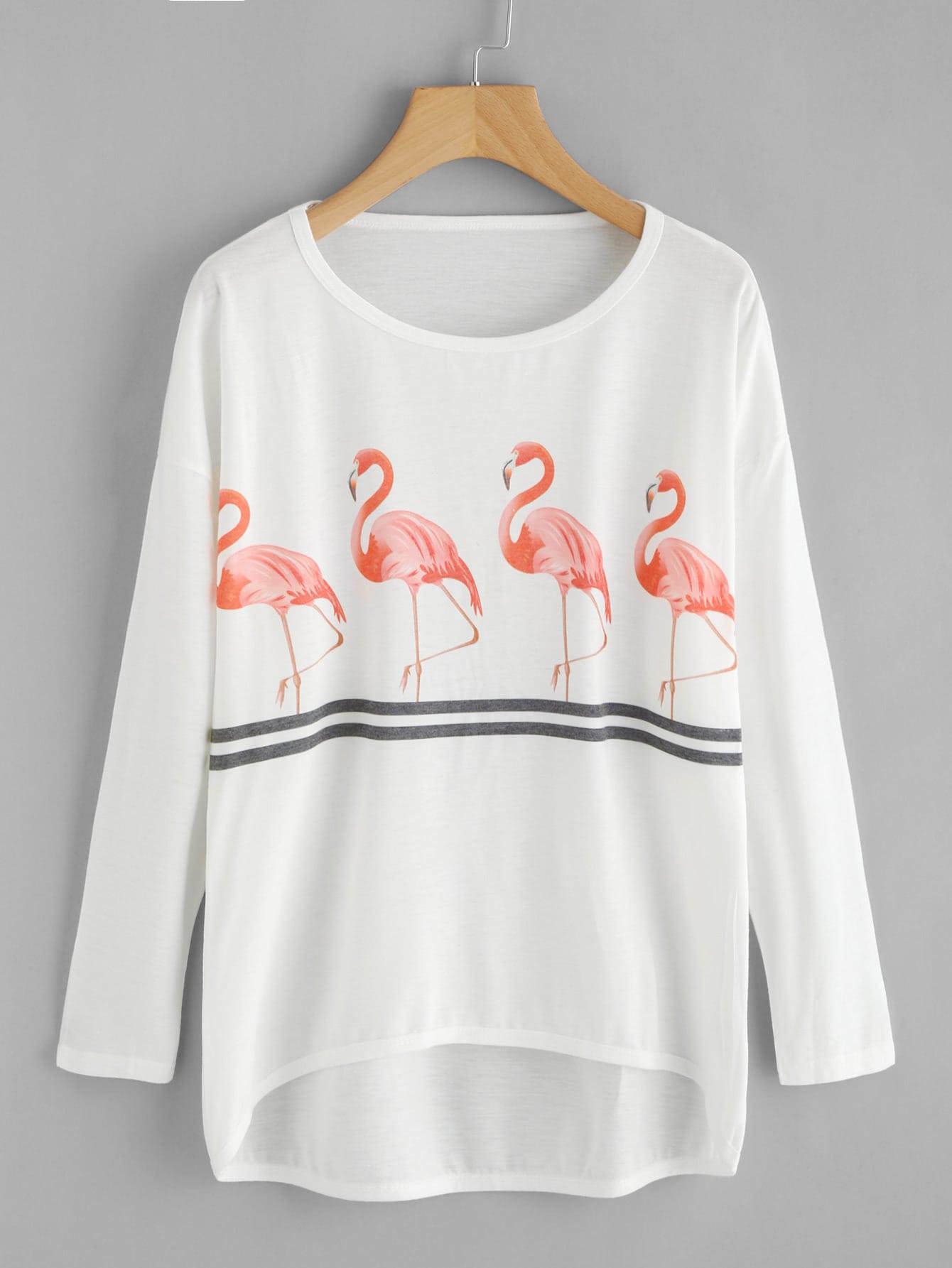 Flamingo Print Drop Shoulder Dip Hem Tee drop shoulder dip hem tee