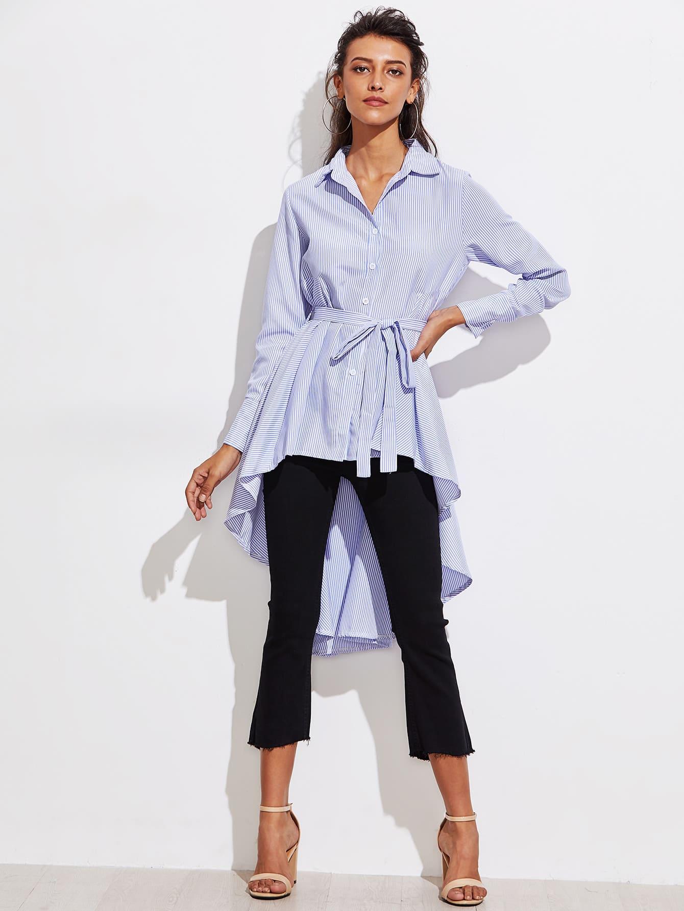 Купить Модная рубашка в полоску с поясом, Camila, SheIn