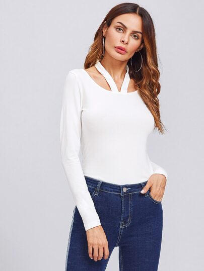 Halter Neck Solid Fitted Tee