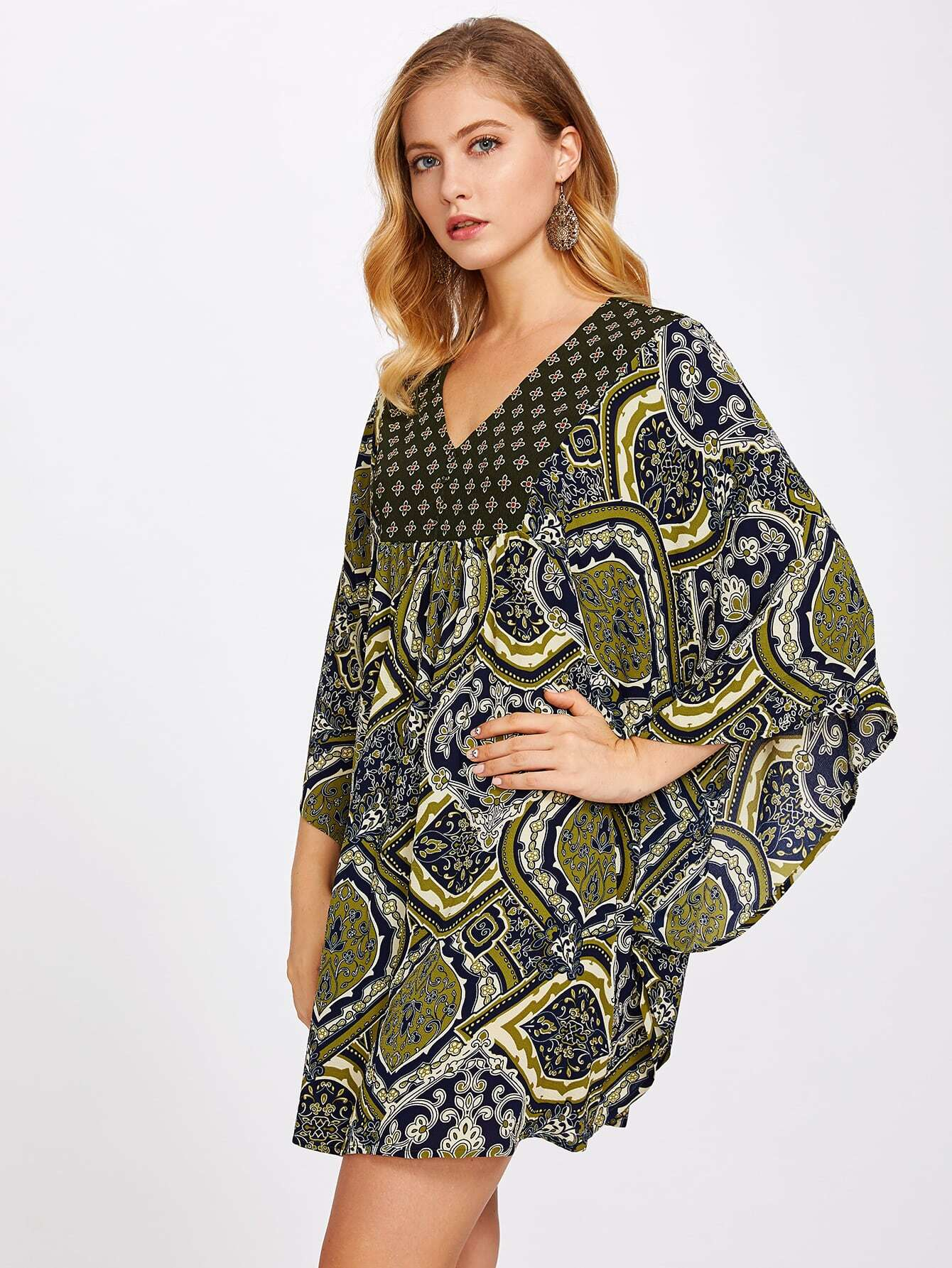 Ornate Print Batwing Dress