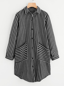 Striped Double Pockets Curved Hem Shirt