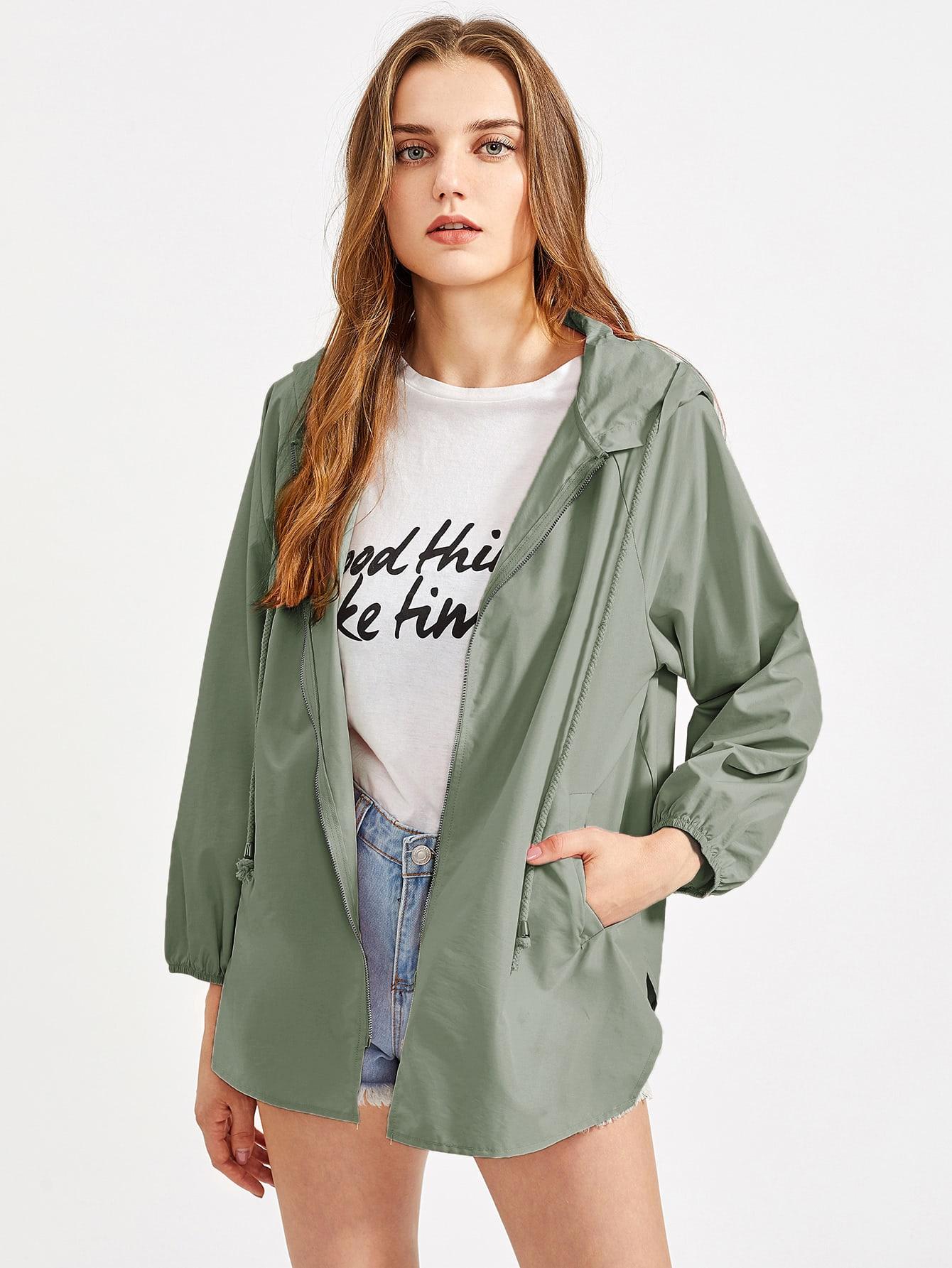 Raglan Sleeve V Notch Side Hoodie Jacket letter print raglan sleeve hoodie jacket