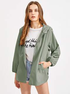 Raglan Sleeve V Notch Side Hoodie Jacket