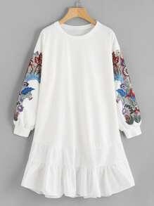 Embroidered Applique Frill Hem Sweatshirt Dress